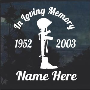 Soldier cross In Loving Memory Window Decal Sticker