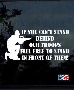 Stand behind our troops soldier decal sticker