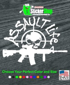 assault life skull ar decal sticker