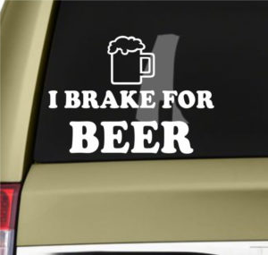 Brake for Beer Funny Decal Sticker - https://customstickershop.us/product-category/stickers-for-cars/
