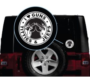 i love guns tits and jeeps vinyl window decal sticker