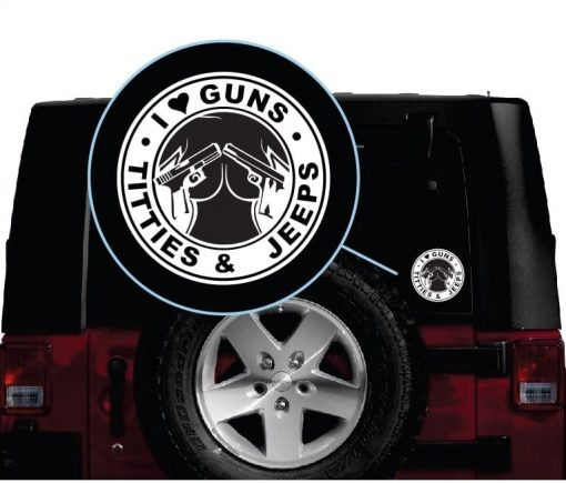 i love guns tits and jeeps vinyl window decal sticker
