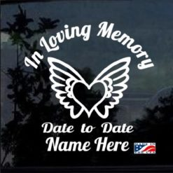 in loving memory decal sticker heart and wings