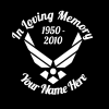 loving Memory Decal Air Force