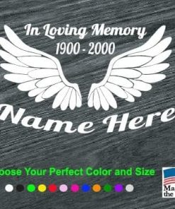 in loving memory angel wings decal sticker