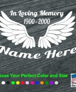 in loving memory angel wings decal sticker