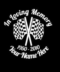 loving Memory Decal Checkered Flag