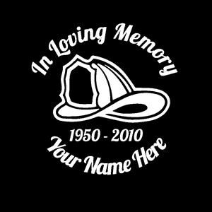 loving Memory Decal Fireman