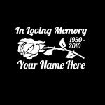 Rose Flower In Loving Memory Window Decal Sticker