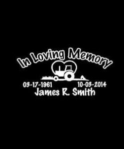 In Loving Memory Decals Tractor Heart