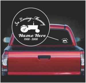 in loving memory window decal sticker tractor farming