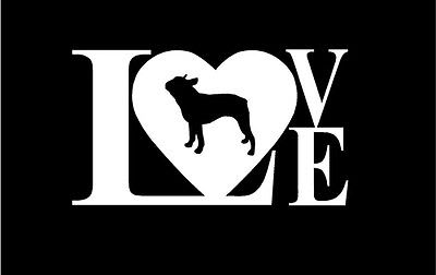 Love Boston Terrier Dog Vinyl Car Window Decal Sticker Custom - Custom vinyl decals boston