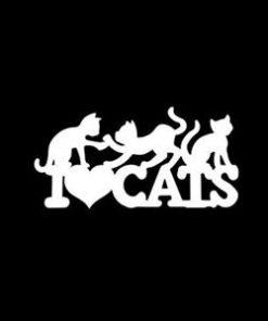 I Love Cats Window Decal Sticker