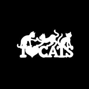 I Love Cats Window Decal Sticker