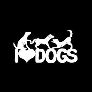 I Love Dogs Window Decal Sticker