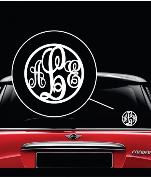 Monogram initials round window decal sticker