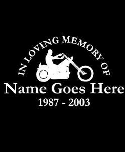 loving Memory Decal Motorcycle