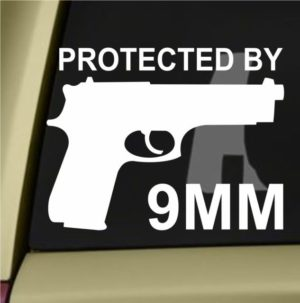 Protected by 9mm Decal Sticker - https://customstickershop.us/product-category/stickers-for-cars/