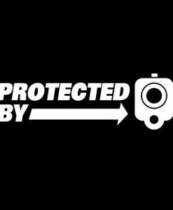 Protected by guns Decal Sticker 1