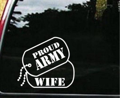 Army Wife Dog Tags Decal Sticker