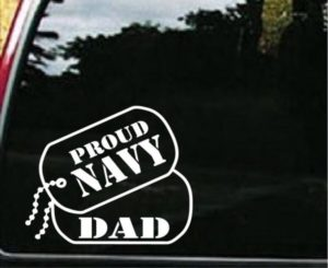 Navy Dad Dog Tags Decal Sticker