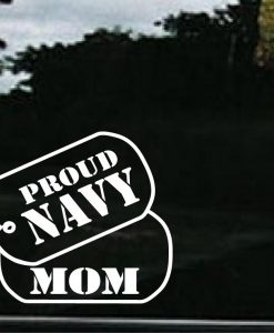 Navy Mom Dog Tags Decal Sticker