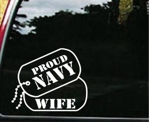 Navy Wife Dog Tags Decal Sticker