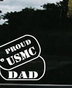 USMC Dad Dog Tags Decal Sticker