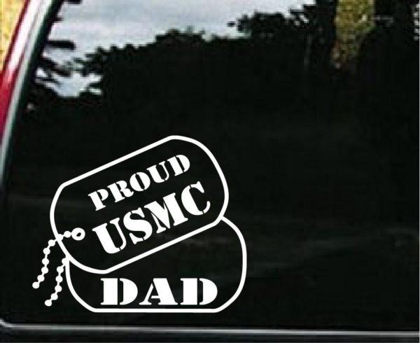 USMC Dad Dog Tags Decal Sticker