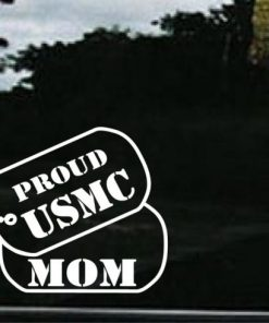USMC Mom Dog Tags Decal Sticker