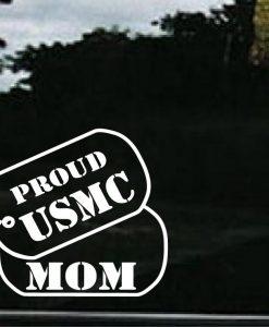 USMC Mom Dog Tags Decal Sticker