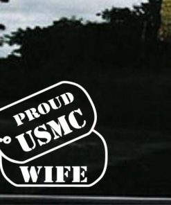 USMC Wife Dog Tags Decal Sticker