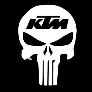 Punisher KTM Racing Window Decals - https://customstickershop.us/product-category/stickers-for-cars/