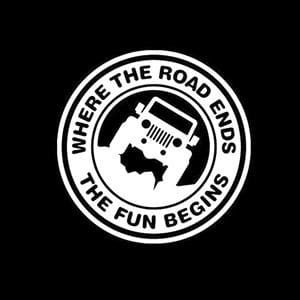 Jeep Decal Road Ends Fun Begins