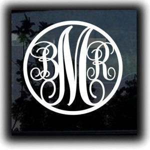 Round Monogram Initials Decal - https://customstickershop.us/product-category/stickers-for-cars/