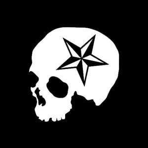 Nautical Star Skull Window Decal