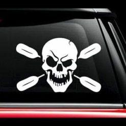 Skull Oars Kayak Window Decal