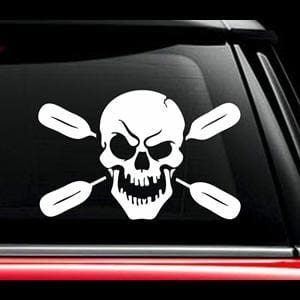 Skull Oars Kayak Window Decal