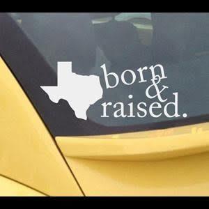 Texas Born Raised Window Decal