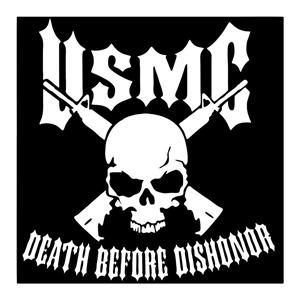USMC Death Dishonor Window Decal - https://customstickershop.us/product-category/army-navy-marines-decals/