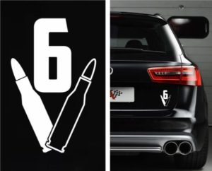 V6 Bullet Car Decal Sticker - https://customstickershop.us/product-category/stickers-for-cars/