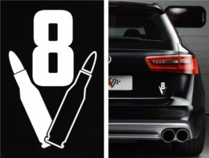 V8 Bullet Car Decal Sticker - https://customstickershop.us/product-category/stickers-for-cars/