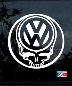 vw skull round decal sticker