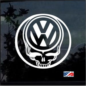 vw skull round decal sticker