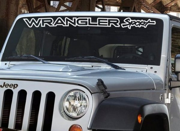 Vinyl windshield banner decal stickers fits jeep wrangler for Custom jeep lettering