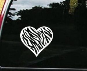 Zebra Heart Window Decal Sticker - https://customstickershop.us/product-category/stickers-for-cars/