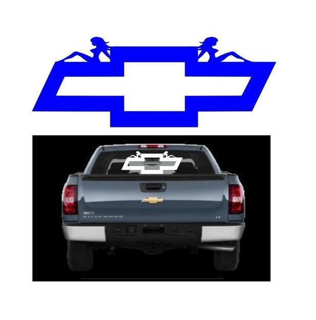 Chevy Chevrolet Bowtie Mudflap Girl Truck Decal Sticker