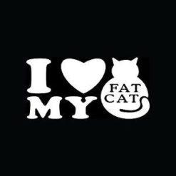 I Love my Fat Cat Stickers