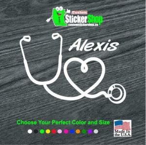 nurse heart stethoscope with custom name decal sticker