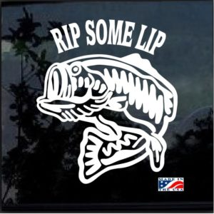 rip some lip bass fishing decal sticker